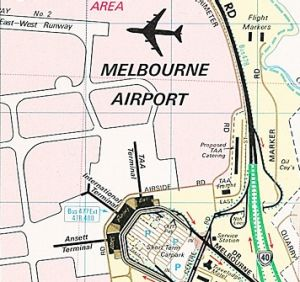 """In 1982, a cartographer's note saying ''Looks Funny Eh?"""" - indicating the Tullamarine Airport terminal - made it through ..."""