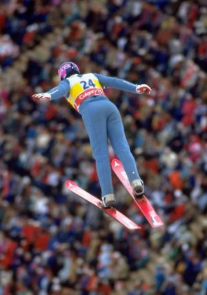 Game for it: Great Britain's Eddie Edwards soars into action at the 1988 Winter Olympic Games.