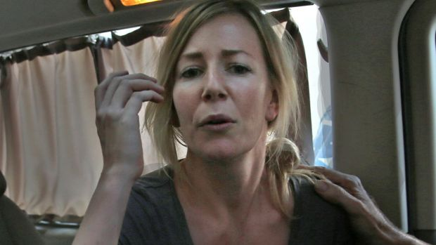 Sally Faulkner in a mini van shortly after she was released.