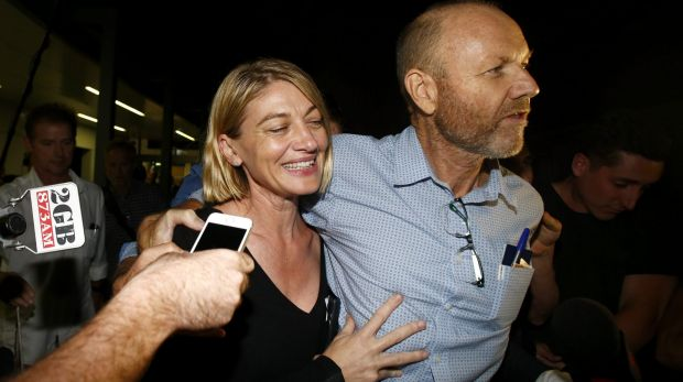 60 Minutes presenter Tara Brown and former producer Stephen Rice on their return to Sydney after being released from a ...