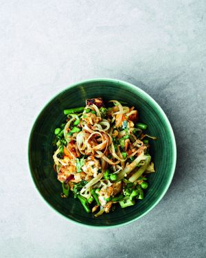 This is what Singapore noodles from a cookbook look like, but now hungry passengers can select their chicken rice or ...