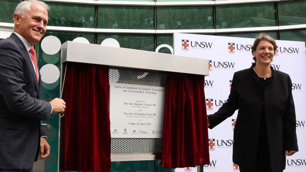 Prime Minister Malcolm Turnbull and Professor Michelle Simmons open the extension to UNSW's quantum computing centre in 2016.