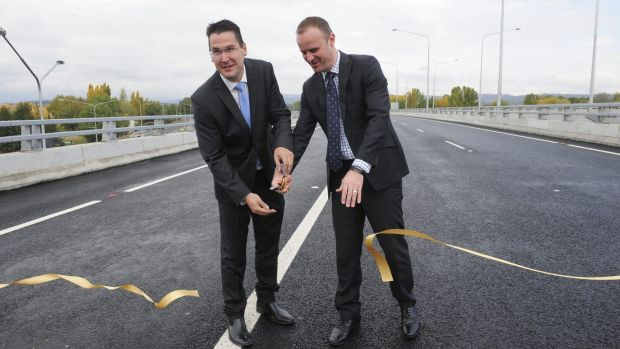 ACT senator Zed Seselja and Chief Minister Andrew Barr open the Majura Parkway last year. It has boosted Canberra's ...