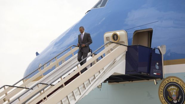 Barack Obama arrives on Air Force One at King Khalid International Airport in Riyadh. King Salman was not on hand to ...