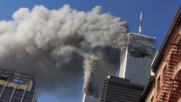Smoke rises from the twin towers of the World Trade Centre on September 11, 2001.
