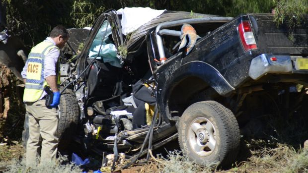 The scene of the crash on the Mitchell Highway at Trangie near Dubbo on Saturday.