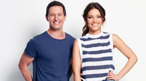 2DayFM's breakfast show Rove McManus and Sam Frost.