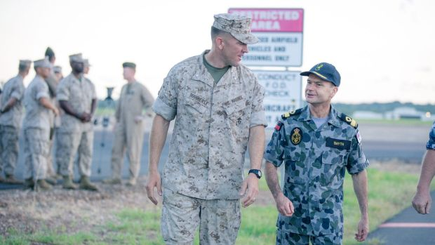 Left, Lt Col Eric Dooughety, Commander of the 4th Marine Rotational Force, with Northern Command Commander Commodore ...