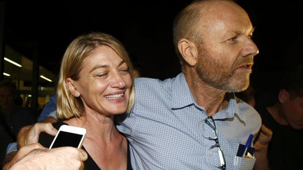Tara Brown and sacked producer Stephen Rice on their return to Sydney, after being released from a Lebanese jail.