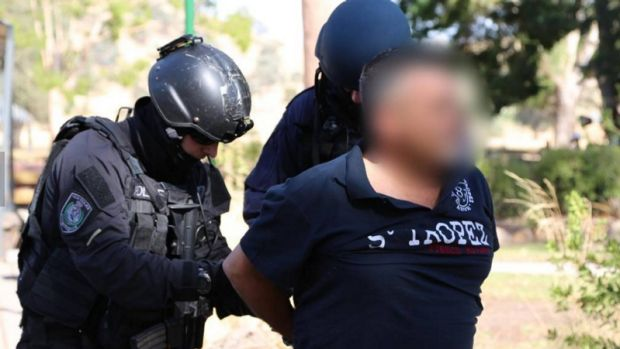 Police make an arrest in connection with the drug syndicate in February 2014.