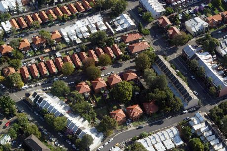 Aerial view of Sydney. Roof tops in Glebe. Photo: Kristjan Porm. 050408