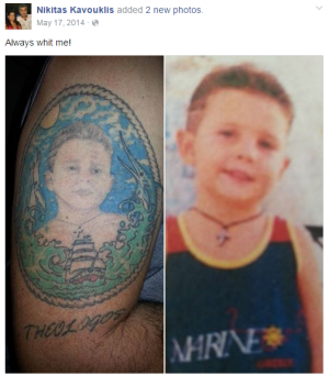 Nick Kavouklis displaying his tattoo of his son, Theo, as a young boy.