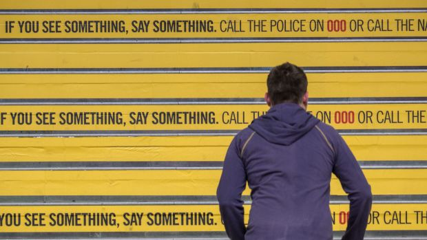 """""""If you see something, say something"""": National security advertising in Melbourne  in 2014."""