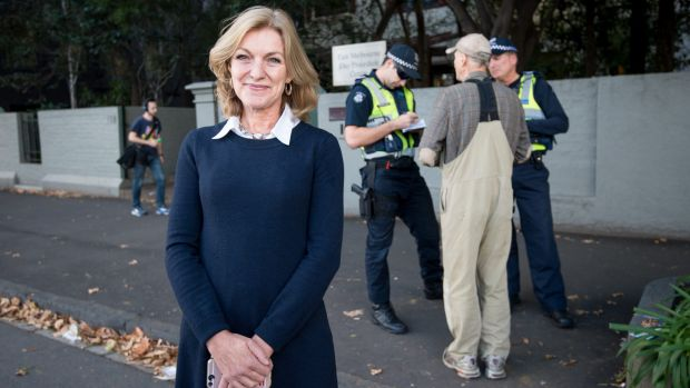 Leader of the Austrlaian Sex Party Fiona Patten outside the Fertility Control Clinic in East Melbourne.