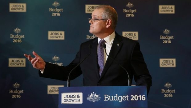 Treasurer Scott Morrison selling the budget message which has received a luke warm reception from voters,