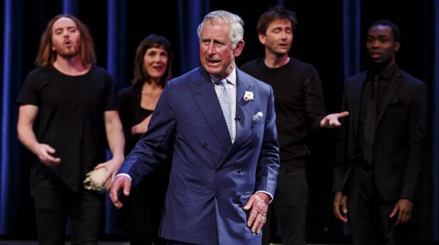 Prince Charles (centre) stole the show at Stratford-Upon-Avon as he performed alongside Tim Minchin, Harriet Walter, ...