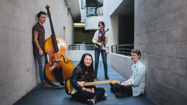 ANU School of Music students Brendan Keller-Tuberg, Ellen Chan, Helena Popovic and Hayden Fritzlaff who are optimistic ...