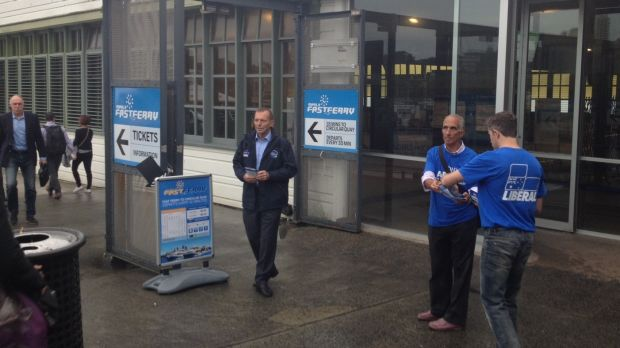 Tony Abbott campaigning at Manly Wharf in his seat of Warringah at the 2016 election.