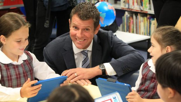NSW Premier Mike Baird and Education Minister Adrian Piccoli make an announcement about STEM education at Brookvale ...