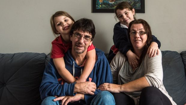Duncan Storrar with his daughter Jakalah-Rose, Indica and wife Cindy-Lee the day after his appearance on Q&A.