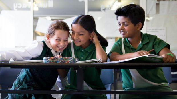 First day of NAPLAN: Year 3 students from St. Anthony's in Girraween (from left) Zoe Atkinson, 8, Mokshada Rane, 8, and ...