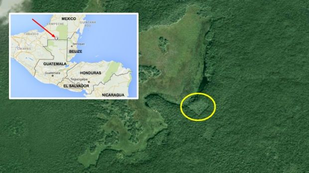Aerial image showing the location of the ,osty Mayan city in Mexico's Yucatan province.