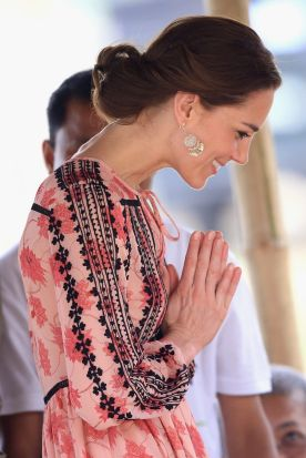 Catherine, Duchess of Cambridge gives a greeting as she visits the Elephant Family Discovery centre, a Mark Shand ...
