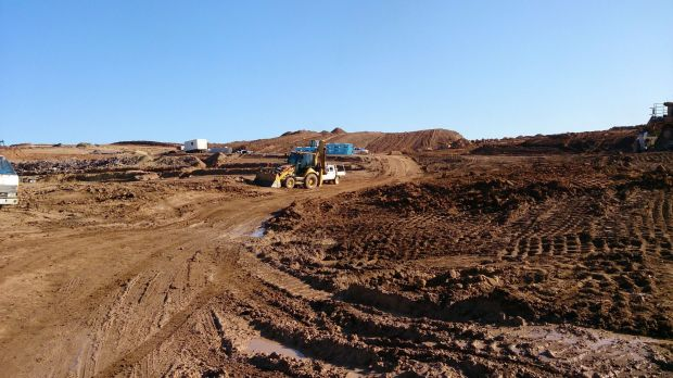 Bulldozers work last year on the early stages of laying out Denman Prospect.