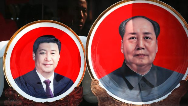 """""""It does harken back to Mao, this personality cult"""": souvenir plates bearing images of Chinese President Xi Jinping and ..."""