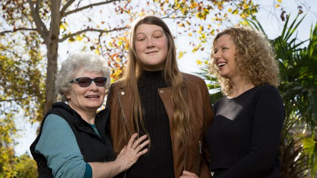 Breagha Patterson with her grandmother Katie Graham and mother Maggie Patterson at St Vincent's Hospital.
