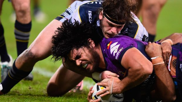Unstoppable force: Tohu Harris touches down for the Storm.