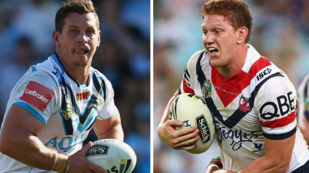 Greg Bird of the Titans v Dylan Napa of the Roosters.