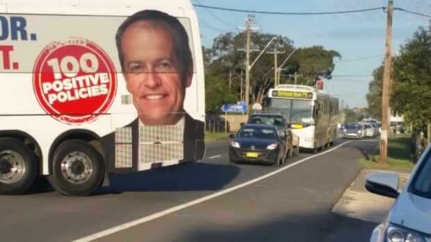 The bus, which is stopping at marginal electorates, blocked traffic.
