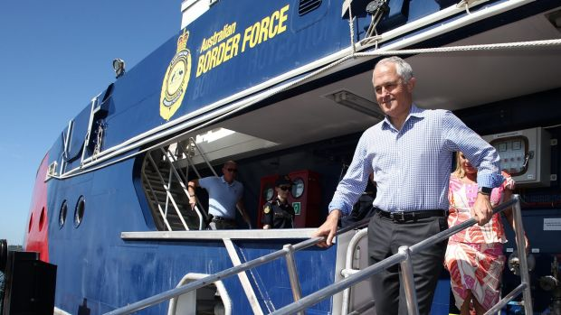 Prime Minister Malcolm Turnbull visits Border Force patrol boat the Cape Jervis patrol boat in Darwin on Tuesday.