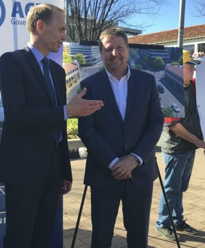 Capital Metro Minister Simon Corbell with Canberra Metro consortium chief executive Martin Pugh on Tuesday. Can the Tram ...