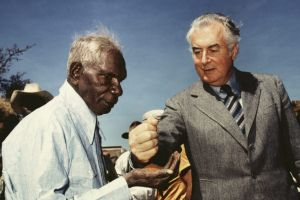 Bishop's 1975 photo of Vincent Lingiari and then prime minister Gough Whitlam.