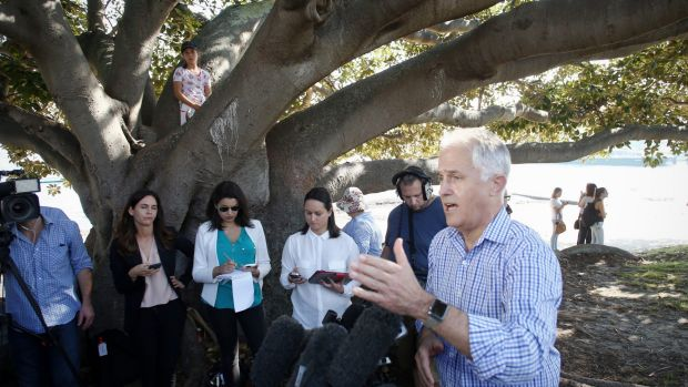 Prime Minister Malcolm Turnbull during a press conference under a tree he played in as a child after he visited the ...