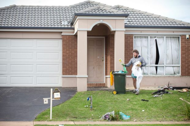 MELBOURNE, AUSTRALIA - MAY 22:  Friends and family help clean up the house on Drysdale Crescent in Point Cook where ...