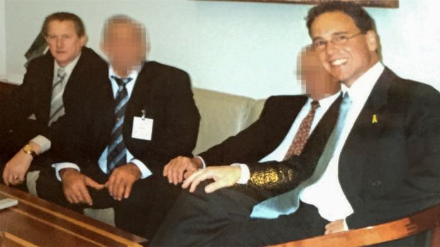 Greg Hunt (right) with Mr Madafferi at a meeting in Parliament House.