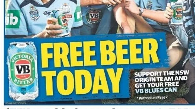 Free blue VB cans are a new low for the State of Origin's ...