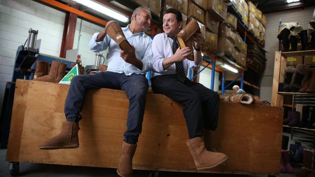 Ugg boot manufacturer Eddie Oygur and Senator Nick Xenophon don a pair of ugg boots to highlight the upcoming battle ...