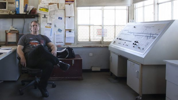 Inside view: Dave the signal box operator.