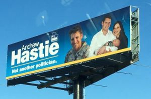 The photo of then-Liberal Party candidate Andrew Hastie's campaign billboard uploaded to Facebook by Pat O'Neill.