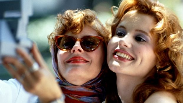 Geena Davis as Thelma Dickinson with Susan Sarandon as Louise Sawyer in 'Thelma and Louise'.