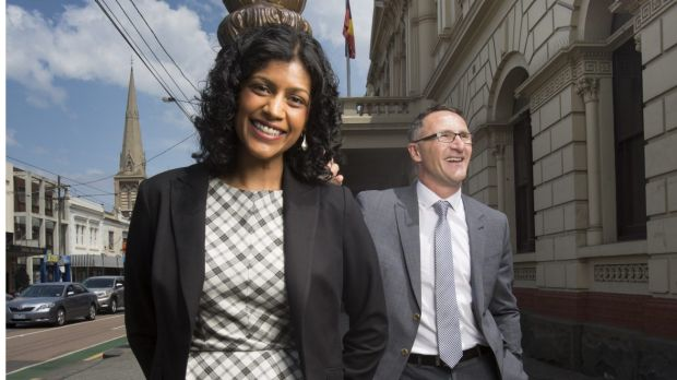Greens candidate for Wills, Samantha Ratnam, seen here with party leader Richard Di Natale, has pulled out of an ...