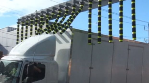 The rubber flaps meant to serve as an alert to trucks.