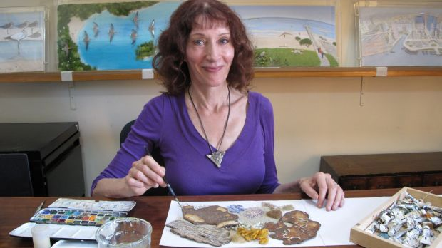 Jeannie Baker in her Balmain studio. Her collage illustrations are held in public collections and have been exhibited ...