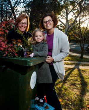 Municipal Minister Meegan Fitzharris (left) with Weston Creek residents Cath Collins and Cath's daughter Sammi.