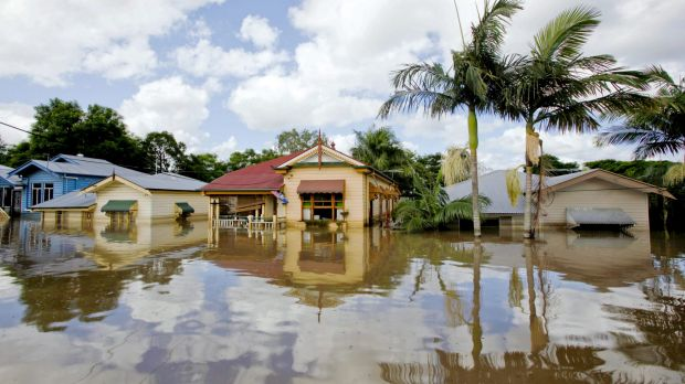 Weather events, such as the 2011 floods in Brisbane, pictured, have not had a large impact on bank losses. But a new ...