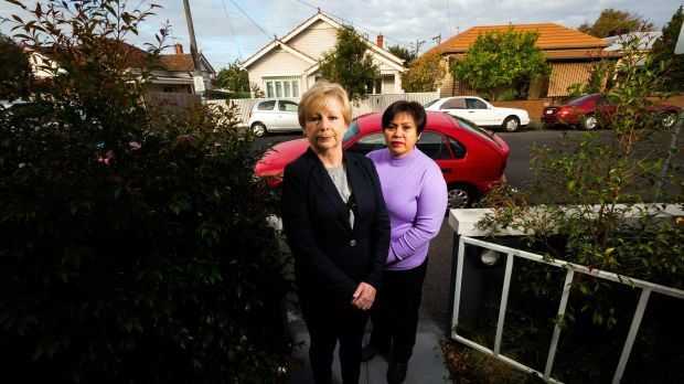 Coburg neighbours, from left, Jacquie Samec and Aurora Young were disgusted by the riot in Coburg on Saturday and feared ...